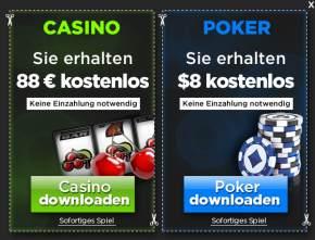 88 Euro kostenlos zum Poker und Automaten spielen