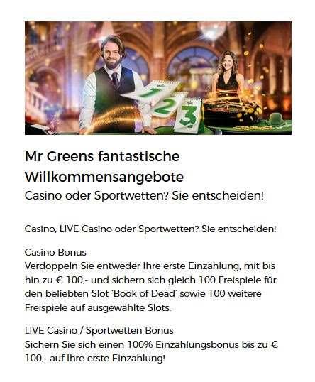Mr. Green Willkommensbonus