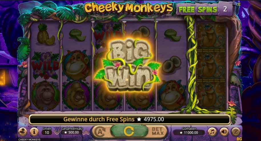 Cheeky Monkeys big win