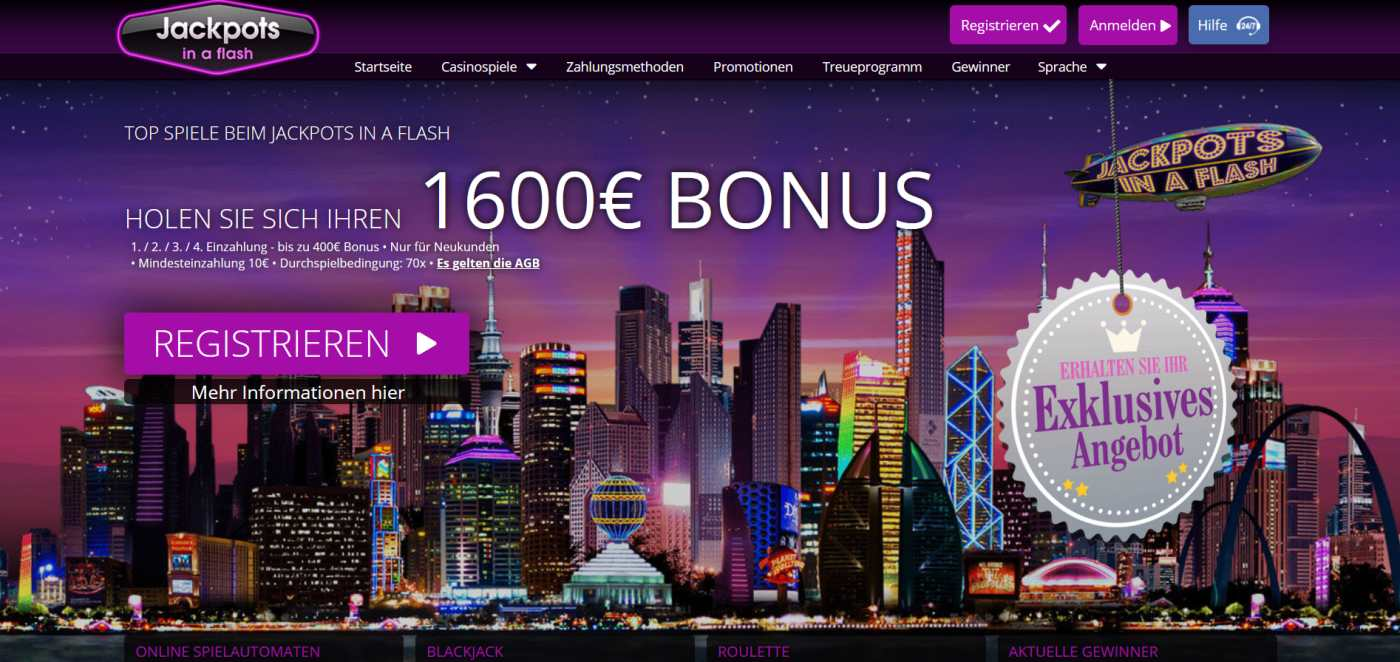 Jackpots in a flash Casino Webseite