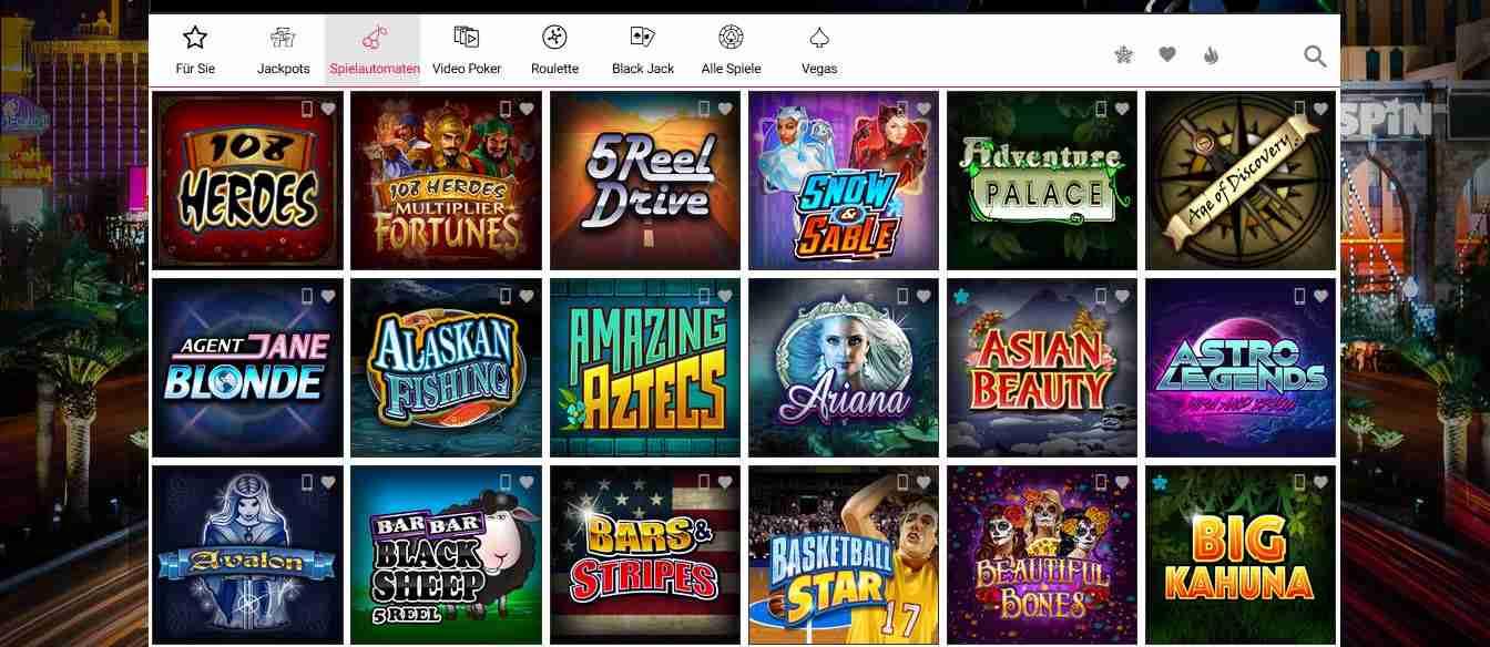 Spin Casino Spielautomaten