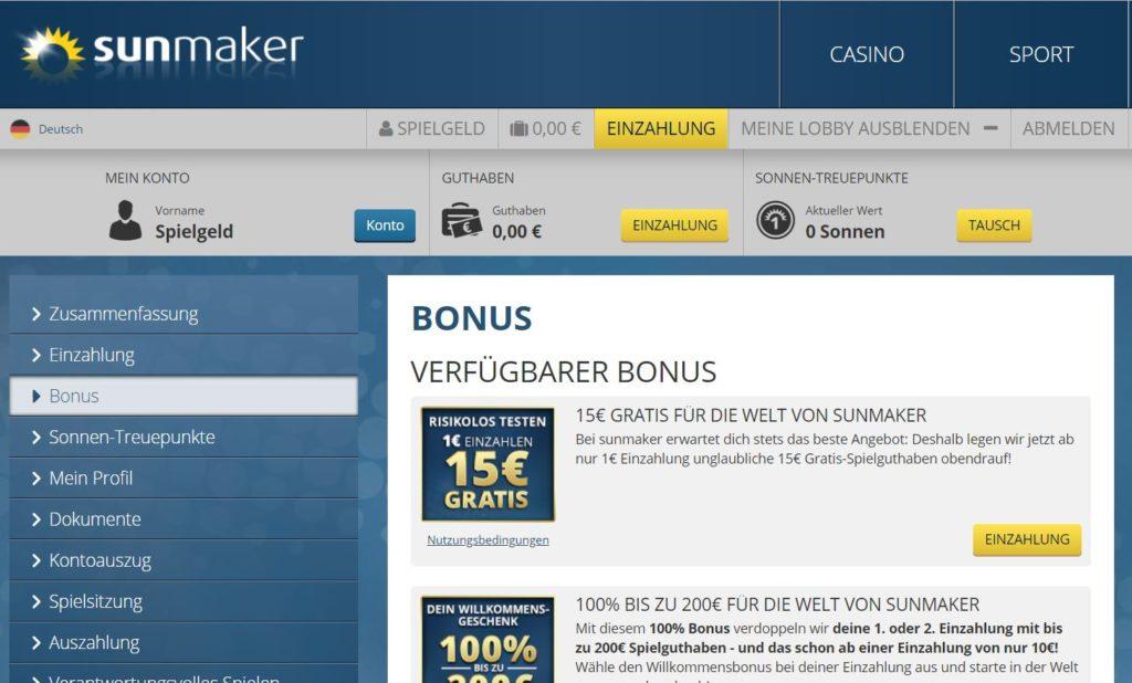 sunmaker 15 euro gratis