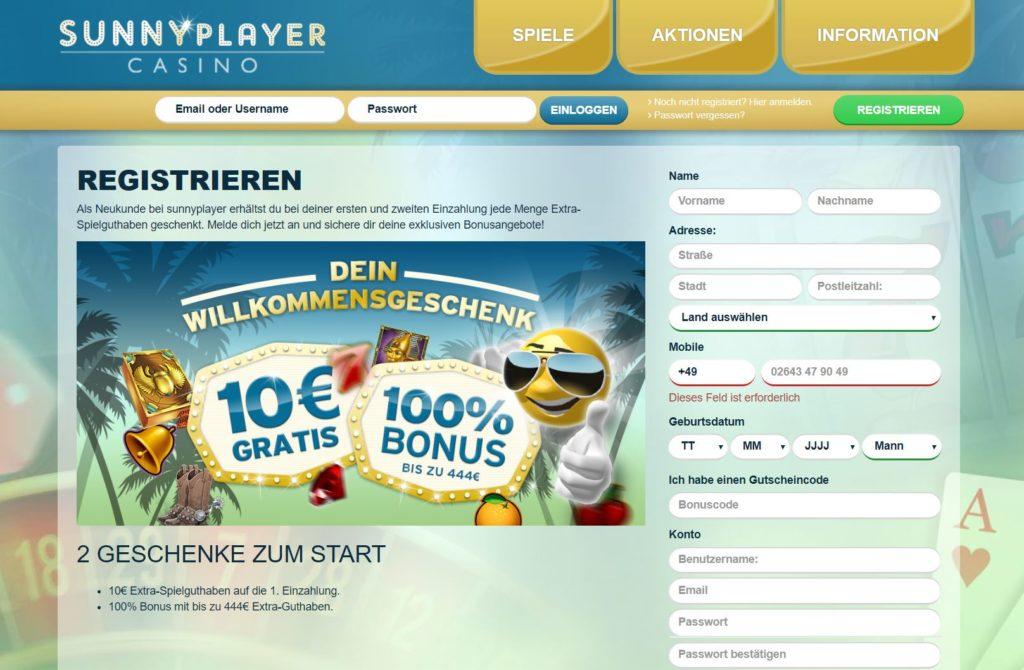 sunnyplayer 10€ gratis
