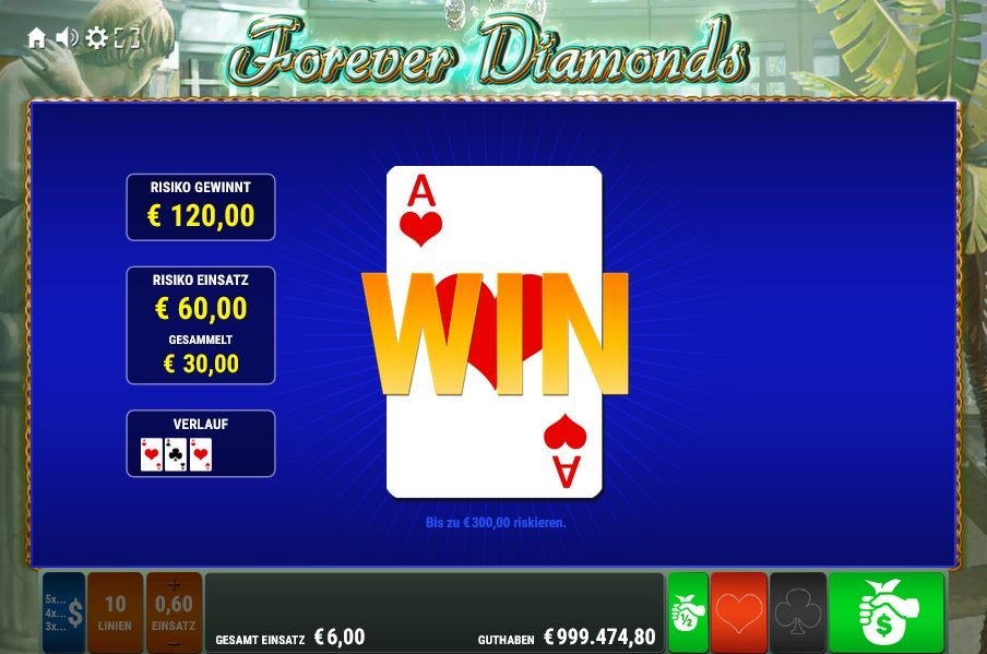 Forever Diamonds Kartenrisiko Gewinn