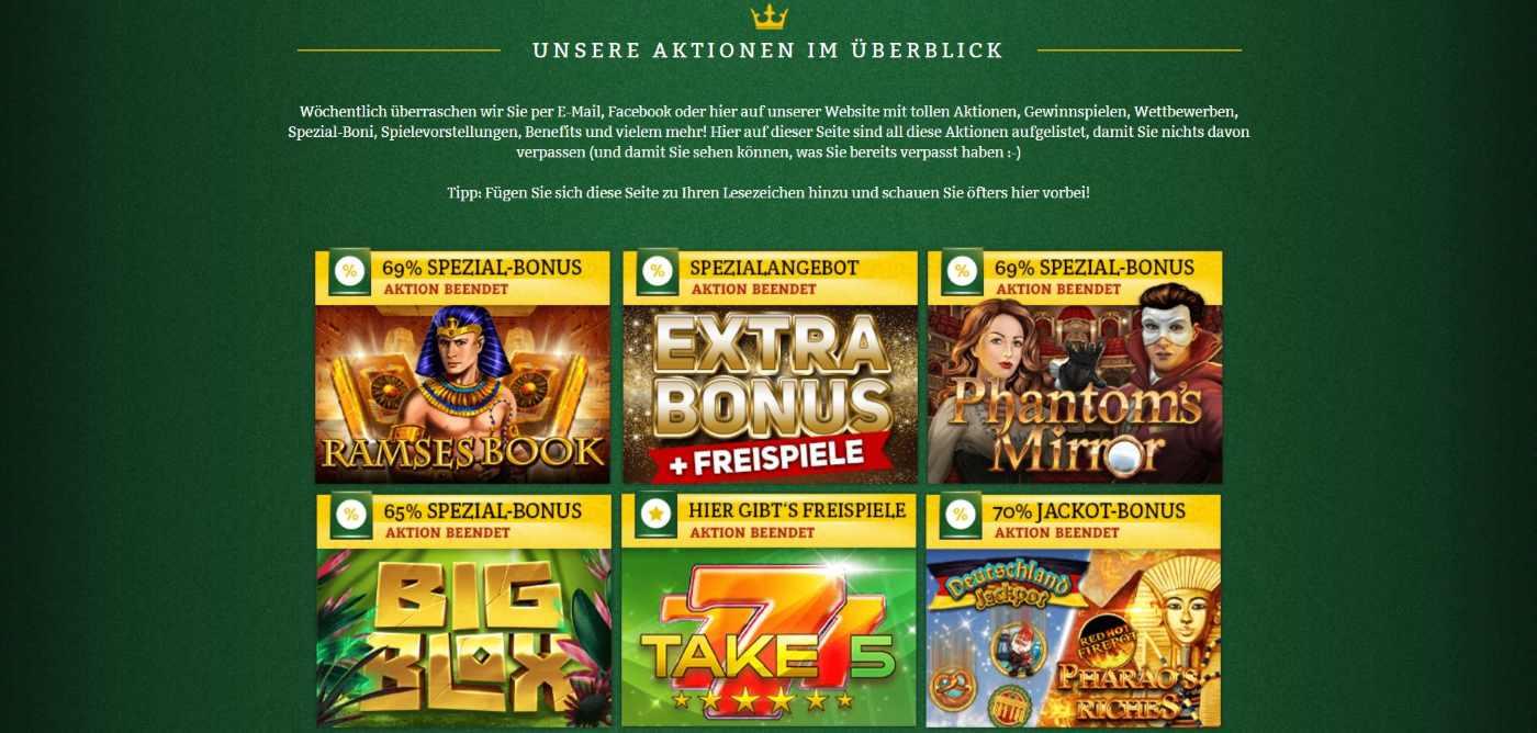 online casino de Aktionen