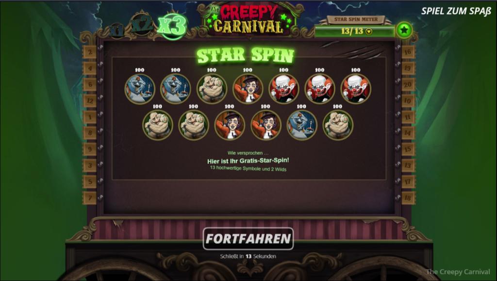 Creepy carnival star spin