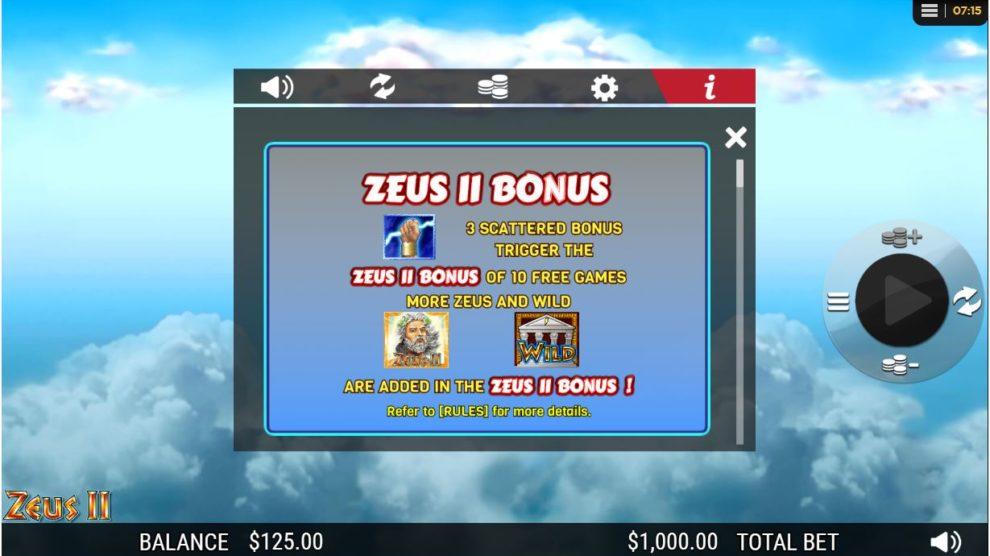 zeus 2 bonus