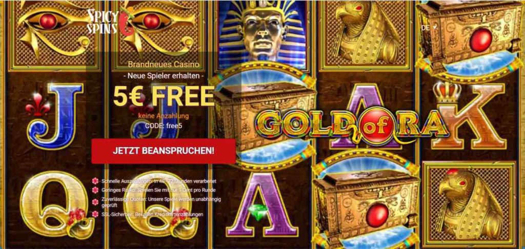 Spicy Spins Bonus 5EUR free