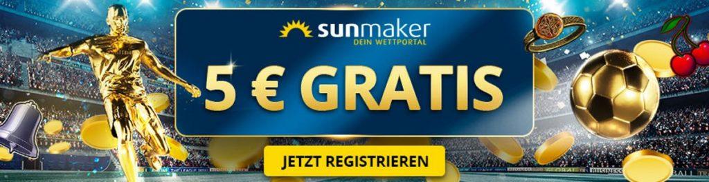 5€ gratis Bonus ohne Einzahlung bei Sunmaker